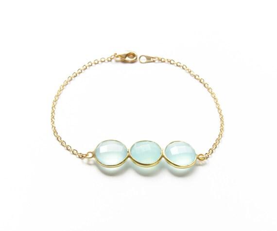 Seafoam Bracelet   Gold Seafoam Bracelet   3 Stone Bracelet   Layering Bracelet   Stone Bracelet   Christmas Gift