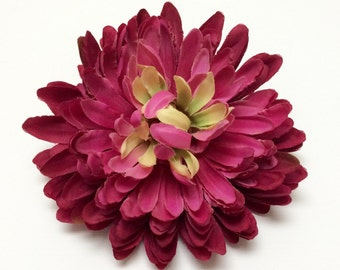 Silk Flowers - One Jumbo DARK PINK Mum on a CLIP - 5.5 Inches - Artificial Flowers