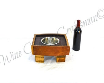 MADRA - Chile - Oak Wine Barrel Stave Food or Water Elevated Bowl Stand