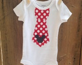 Any Size MickeyMouse Inspired Tie on a Bodysuit Baby Boy