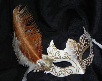 White and Gold Venetian Masquerade Bridal Mask