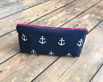 Pencil Case/Cosmetic Bag/ Gadget Case - Navy Anchors