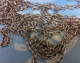 Vintage Style 5x8mm Oval Patterned Footage Chain Antique silver color Plating BULK 10 feet
