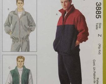 Mens Size Wasit 42 44 46 48 X-Large XX-Large XL XXL McCalls 3885 Jacket Vest Pants Stretch Knits Workout Fall Sport Uncut Sew Sewing Pattern
