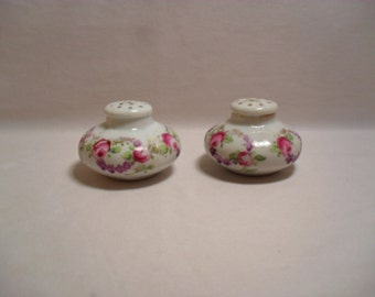 Antique Set of Hand Painted Rose Pattern Porcelain Salt and Pepper Shaker