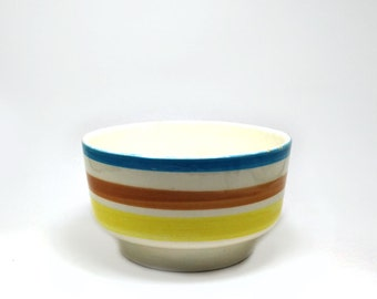 Vintage striped planter - Upco ceramic bowl