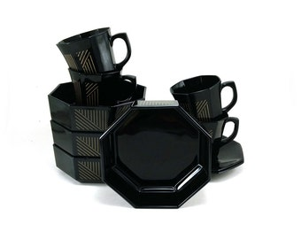 French black & gold dinnerware / Octagonal Marine Gold by Arcoroc / 10 pcs