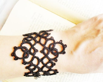 Tatting (Frivolite) Bracelet - Tatted Black Lace Bracelet