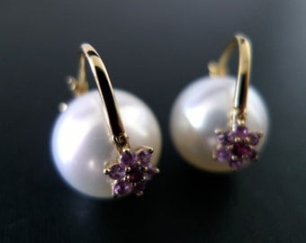 Pink Sapphire Earring with South Sea Gold Pearl in 14K Yellow Gold