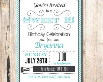 Turquoise Sweet 16 Invitation