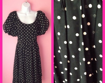 Beautiful Vintage Black and White Sweet Darling Lolita 80s Polka Dot Prom Party Dress