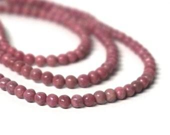 Rhodonite gemstone beads, 4mm round, natural pink, full strand (1110S)