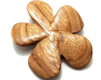 Bayong Wood Flower Bead, Hand Carved, Focal Bead, Pendant, Natural Wood Beads, 45mm - 50mm, Large, Big, 2pcs - ID 2034-SET2