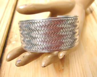 935 Silver Vintage Braided Wide Cuff Bracelet 50 grams for man or woman