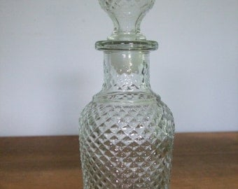 Clear Textured Glass Apothecary Bottle with Stopper