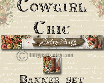 Custom SHOP BANNER Set,Cowgirl Chic Series, Matching Avatar, Junk Gypsy Style, Southwest
