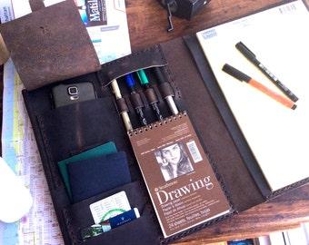 Leather Folder iPad Case, Notepad Organizer Laptop Leather Folder with Pockets, Handmade Leather Portfolios and Folder Hand Sewn