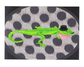 Lizard Art Print- Disguised in Top Hat and Moustache