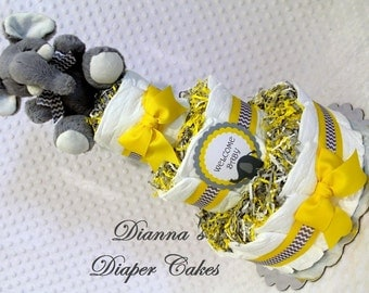 Elephant Baby Diaper Cake SELECT COLOR Chevron Shower Gift or Shower Centerpiece