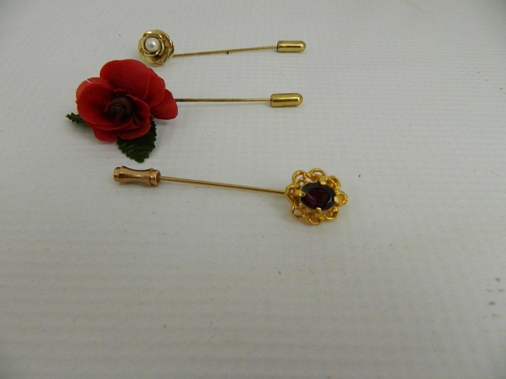 vintage hat pin lapel pin purple petal silk