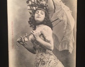 Belle Epoque - Real Photo French Postcard - Woman wth Parasol - Petits Peches - Dancer - Beaded Flower Dress - Performer - Ooh La La
