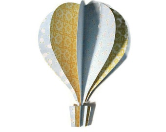3d Hot Air Balloon -   soft blue with flowers, yellow