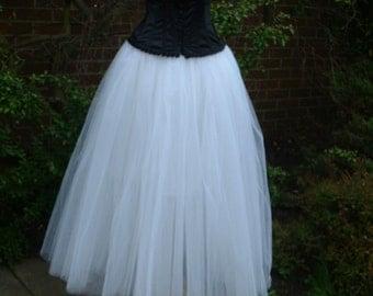 long white tutu skirt adult wedding petticoat goth FLARE FREE steampunk maternity lagenlook gypsy princess prom US size 18 20 22  24
