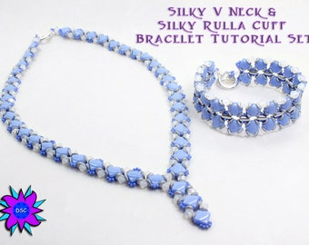 Silky V Neck and Silky Rulla Cuff Beading Tutorial Set, Two Hole Diamond Necklace and Bracelet Pattern, O bead, Tri Bead and Crystal PDF