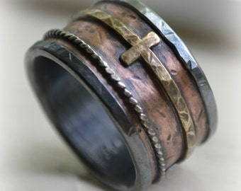 mens wide band wedding band - rustic fine silver and copper ring and brass cross ring oxidized ring - handmade wedding band - customized