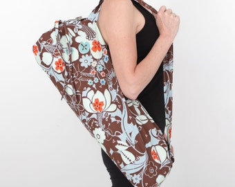 Yoga Bag in Brown and Orange Floral