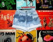 Denim High Waisted Shorts - Vintage 80s Upcycled, Bleached, Distressed Jean Shorts - Cut Off, Frayed, Rolled Up CHIC Shorts Size 0 2 xs OOAK