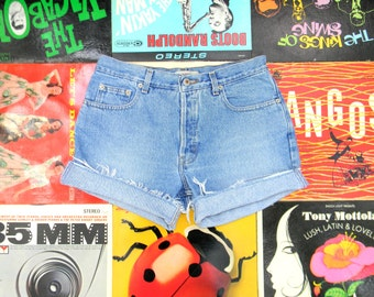 High Waisted Denim Shorts - 90s Light Wash Blue Jean Shorts - Frayed, Rolled Up, Naturally Distressed LONDON JEAN Shorts Size 8 M Medium