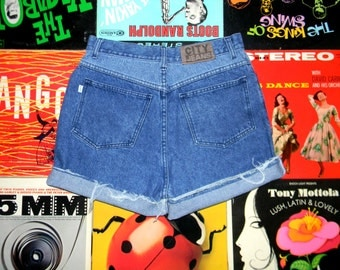 High Waisted 80s Denim Shorts, Two Tone Stone Washed CITY JEANS Cut Offs, Frayed, SUPER High Rise w Paisley Print Jean Accents Size 12 L