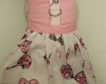 Bark for the Boobies!! Custom BCA Breast Cancer Pink Ribbon Survivor Bra Theme Travel Harness Dress. Perfect for your Cat, Dog or Ferret.