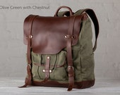 The Large Leather Backpack - Olive Green with Chestnut
