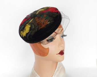 Vintage 1960s feather hat, pillbox tilt black velvet