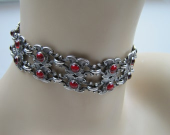 Antique Art Nouveau Silver Ruby Glass Necklace. Victorian Sterling Dog Collar Choker. Rococo Shell Motifs. Antique Edwardian Jewelry