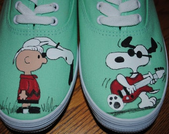 For Sale Just finished painting New Snoopy Design snoopy and Joe cool playing a guitar size 9.5 womens