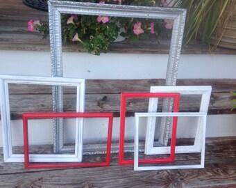Frames, Shabby Chic Frames, Wood Frames SHIPPInG NOT inCULDed, Set of 6 Frames