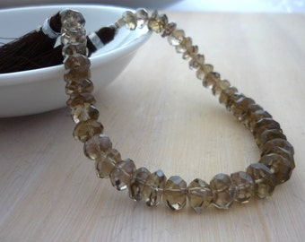 Smoky quartz faceted rondelle beads 6-7mm 1/2 strand