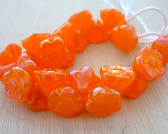 Czech tangerine ab daisy flower beads, button style 7mm set of 25