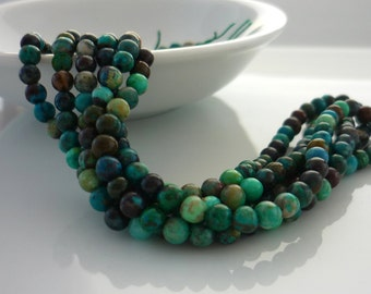 Smooth polished chrysocolla round beads 3mm 1/2 strand