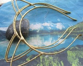 10pcs 3mm width Gold ribbon cover metal hairbands findings--cat shape