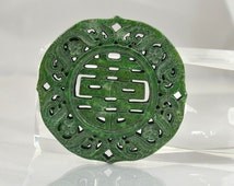 Unique Carved Chinese Green Jade Pendant Rare Xi Word Jade Pendant Flower Carved Jade Amulet Talisman Chinese Jade Carved Pendant