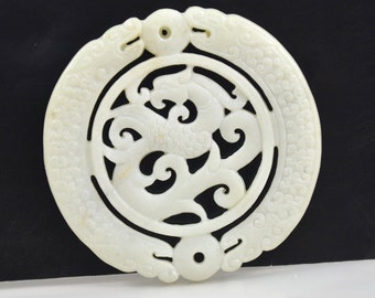 Double Face 70mm Carved White Jade Rare Ancient Sacred Animal Old  Dragon phoenix Carved Jade Amulet Talisman Chinese Jade Carved Pendant