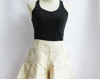P3, Off White Summer Sea Beach Cotton Skorts, off white shorts