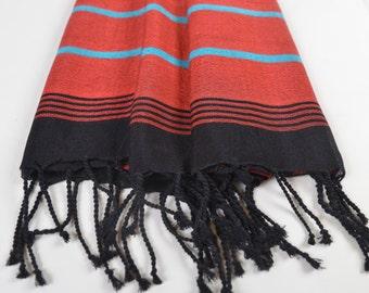 silk and bamboo peshtemal, silk shawl, turkish bath towel, beach towel, red black turquoise towel, turkish beach towel, bridesmaid gift