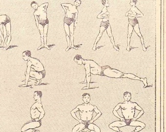 Beautiful Antique Print Encylopedia Page 1920s Engraved iIlustrations Gymnastics Stretching Exercise paper projects scrapbooking collage