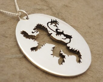 Roaring Lion Sterling silver House Sigil Pendant on chain