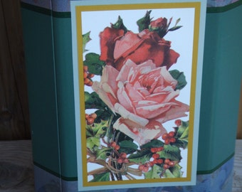 Vintage Tin Canister with Child, Roses and Berries. Made in USA.